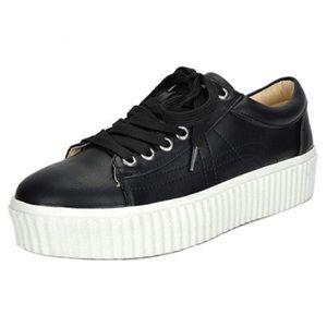 TOETOS Reinna Platform Sneakers Black Size 7